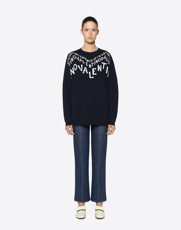 Valentino Chevron inlay Wool Sweater
