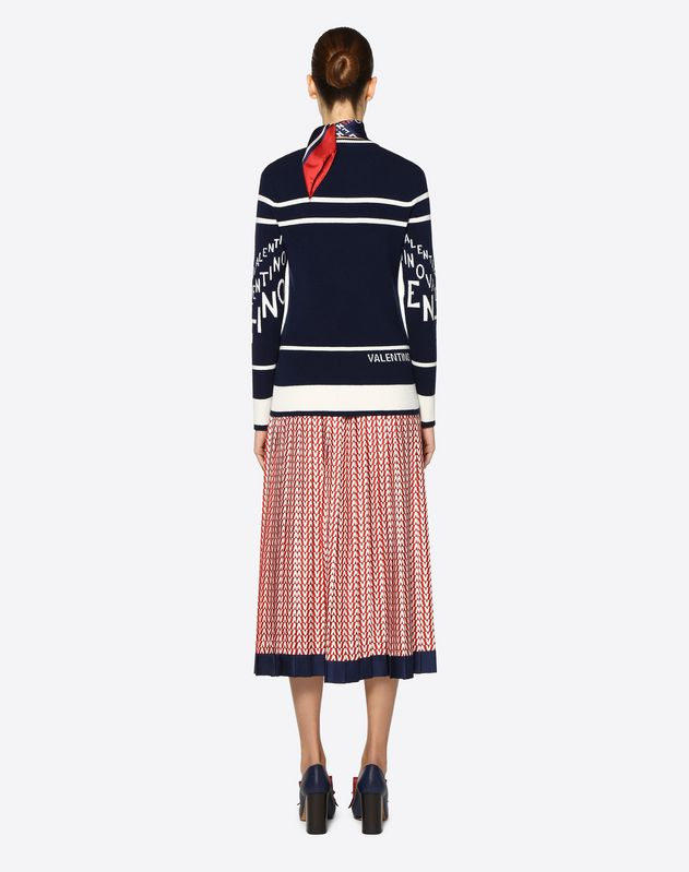 Cashmere Wool Valentino Chevron Inlay Sweater