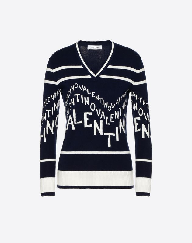 Cashmere Wool Valentino Chevron Inlay Jumper