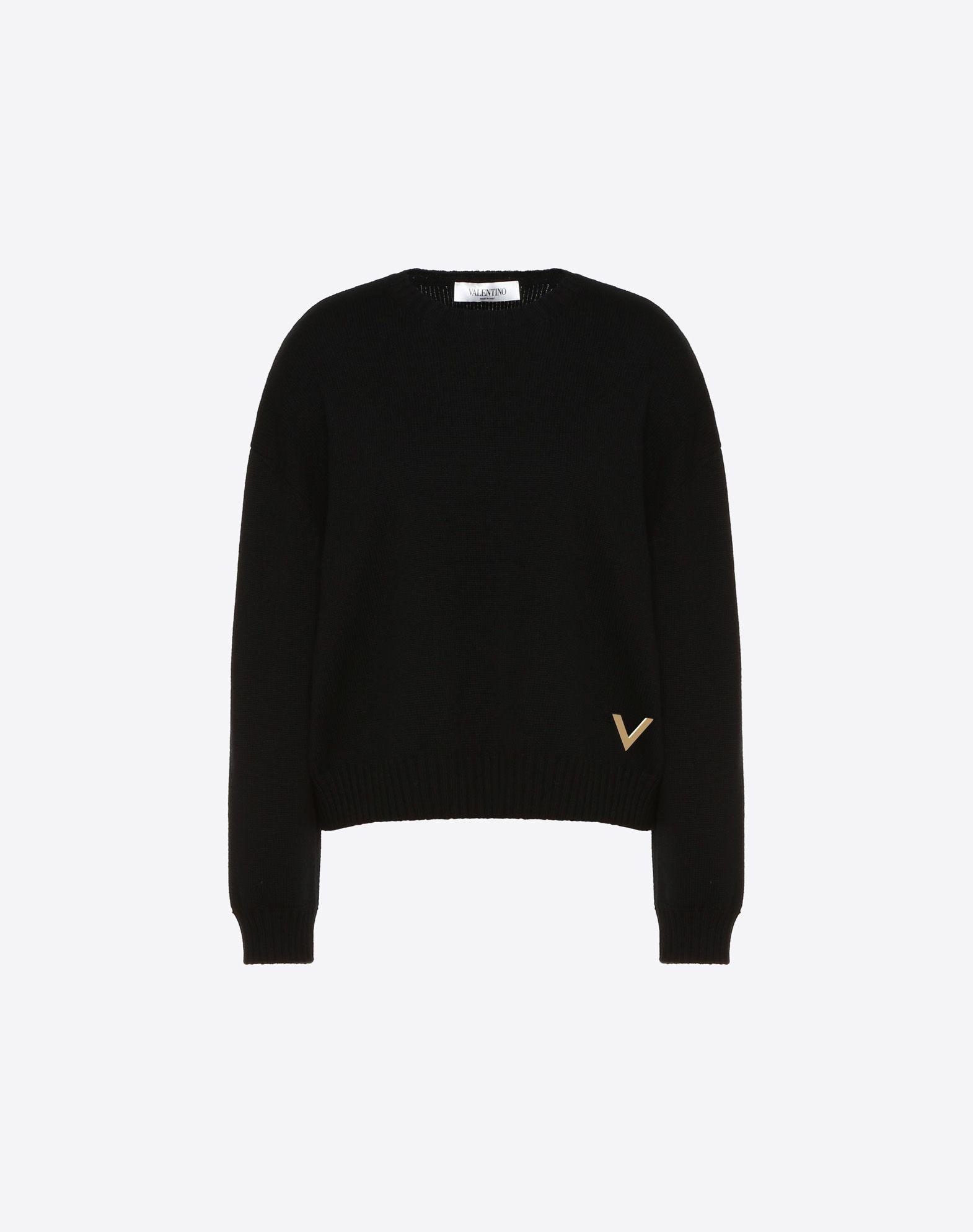 Cashmere Jumper with Gold V Detail