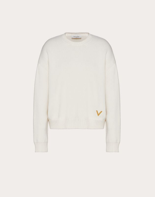 Cashmere Jumper with Gold V Detail
