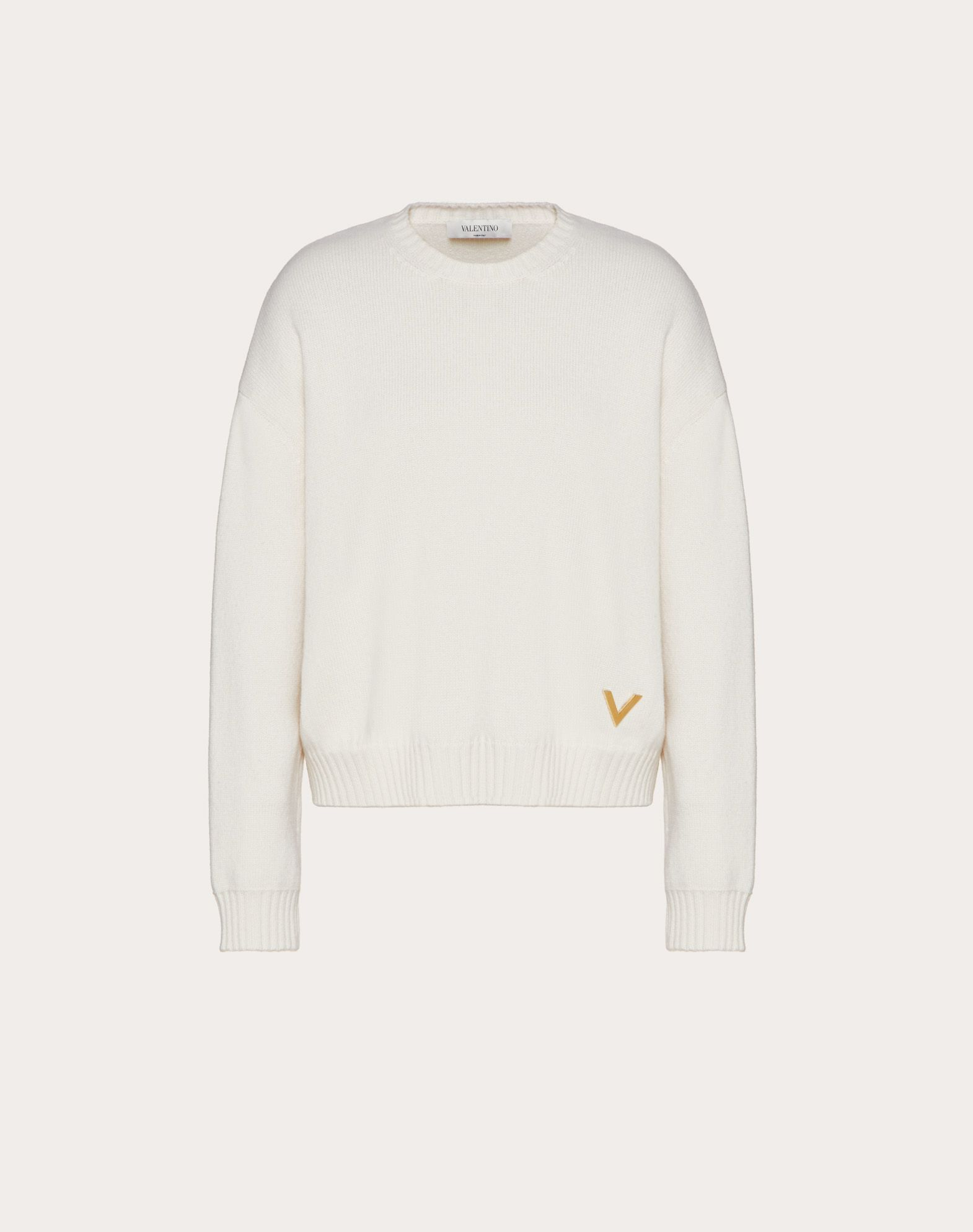 Cashmere Sweater with Gold V Detail