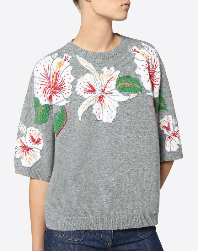 Kaschmirpullover mit Hawaiian Hibiscus-Intarsie