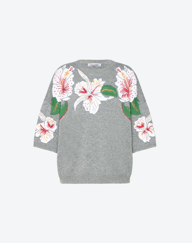 Maglia in Cashmere intarsio Hawaiian Hibiscus