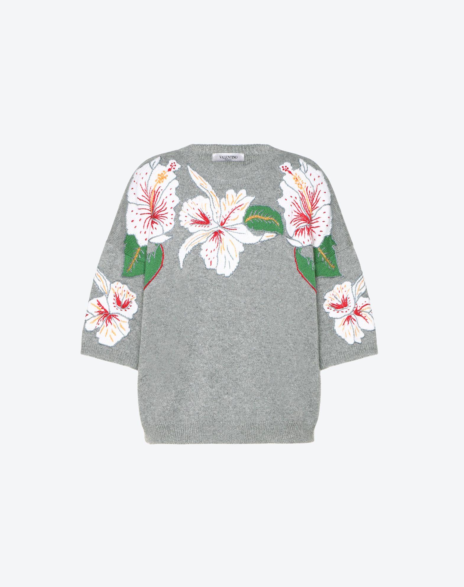Hawaiian Hibiscus Inlay Cashmere Jumper