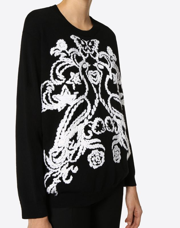 Embroidered Phoenix Cashmere Wool Jumper