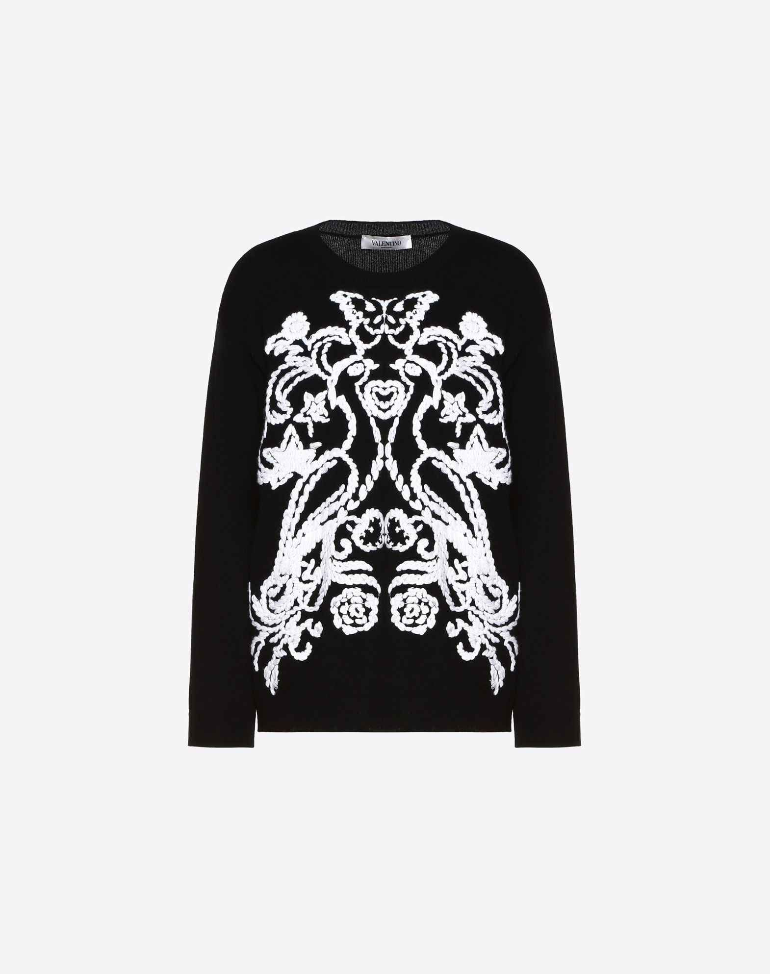 Embroidered Phoenix Cashmere Wool Sweater