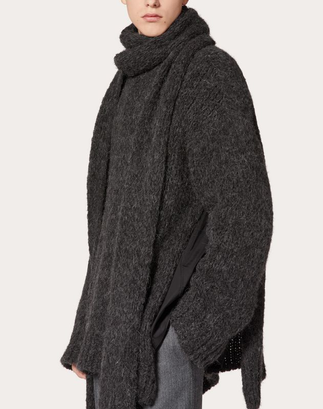 HIGH NECK JUMPER WITH SCARF