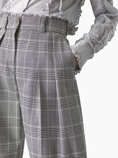Curved check pants