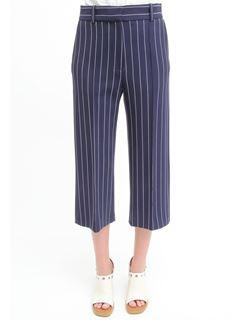 Pantalon court en tissu costume rayé