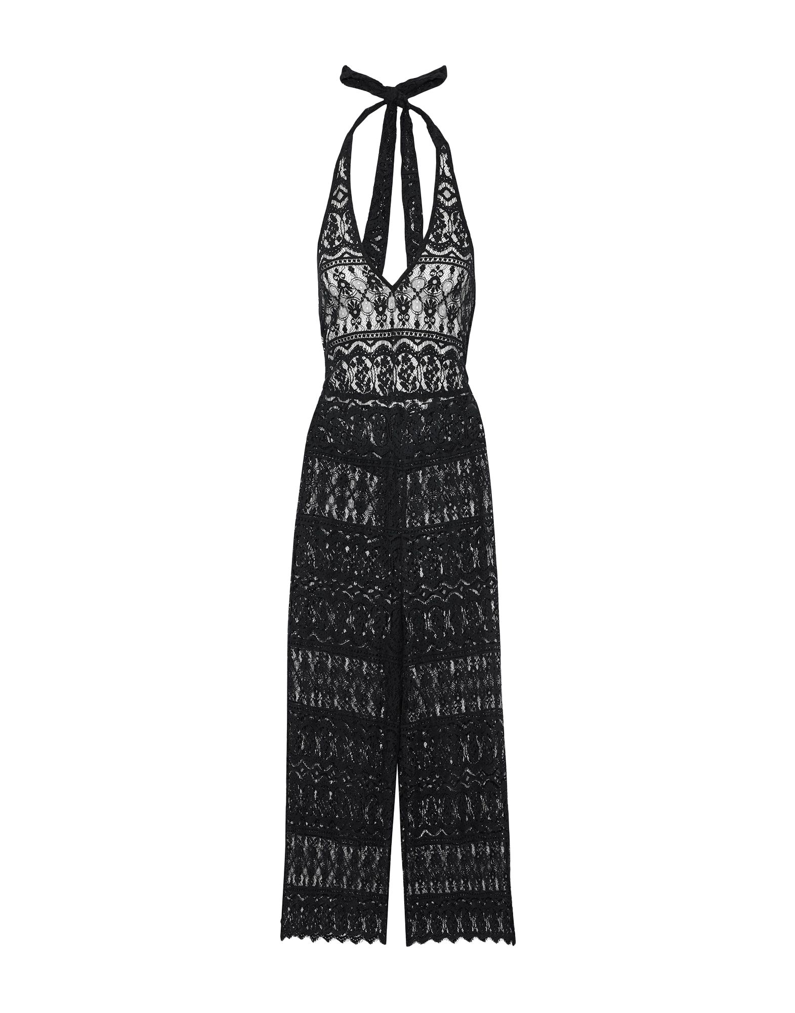 ALICE + OLIVIA Overalls. lace, no appliqués, basic solid color, v-neck, sleeveless, no pockets, zip, rear closure. 85% Cotton, 15% Nylon
