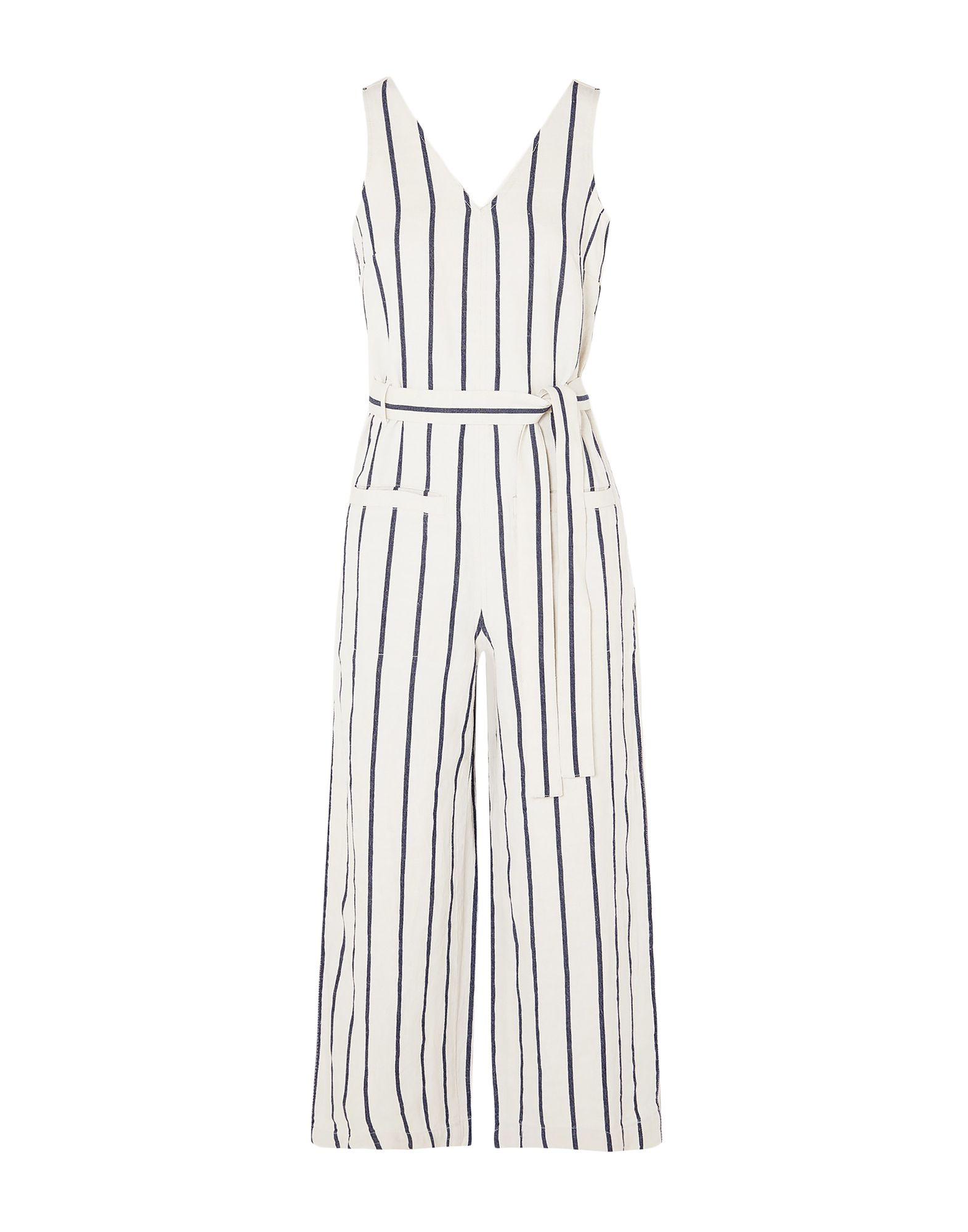 MADEWELL Jumpsuits. v-neck, sleeveless, stripes, zip, side closure, belt, plain weave, multipockets. 60% Cotton, 40% Flax