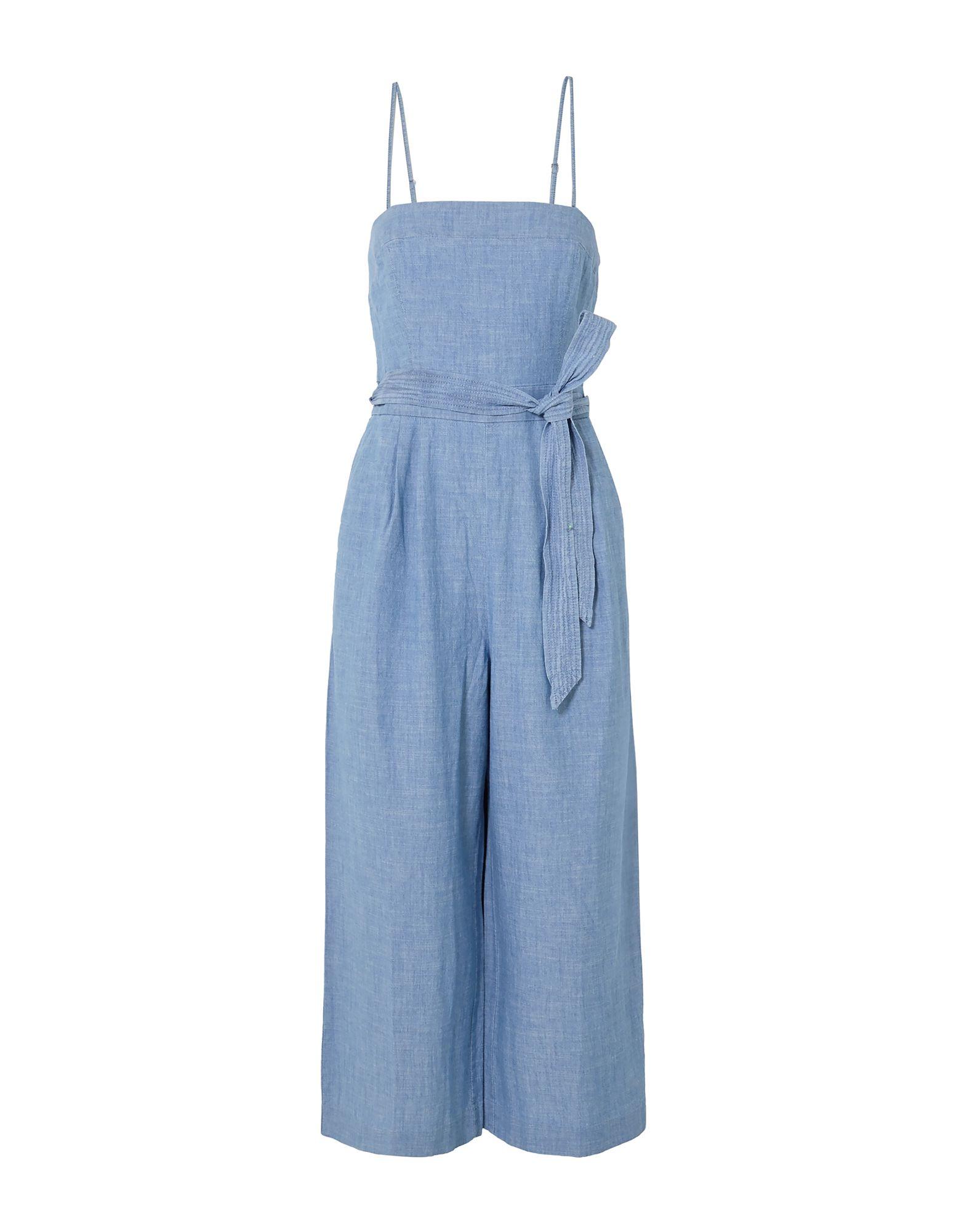 J.CREW Overalls. denim, no appliqués, basic solid color, deep neckline, sleeveless, multipockets, zip, rear closure. 100% Cotton