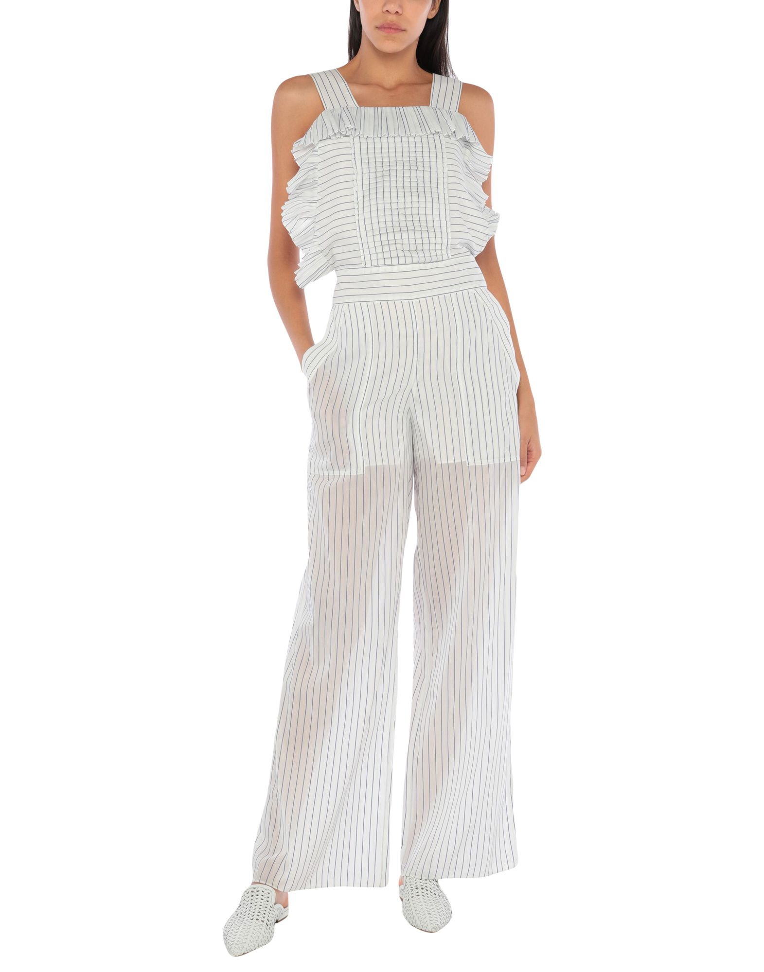 PHILOSOPHY di LORENZO SERAFINI Overalls. plain weave, pleated, ruffles, folds, stripes, overalls top, sleeveless, multipockets, zip, side closure, mid rise, semi-lined. 77% Cotton, 23% Silk