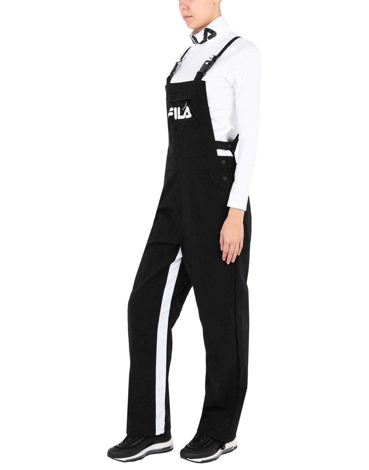 《セール開催中》FILA HERITAGE レディース ジャンプスーツ ブラック XS ナイロン 100% NADELLE dungaree