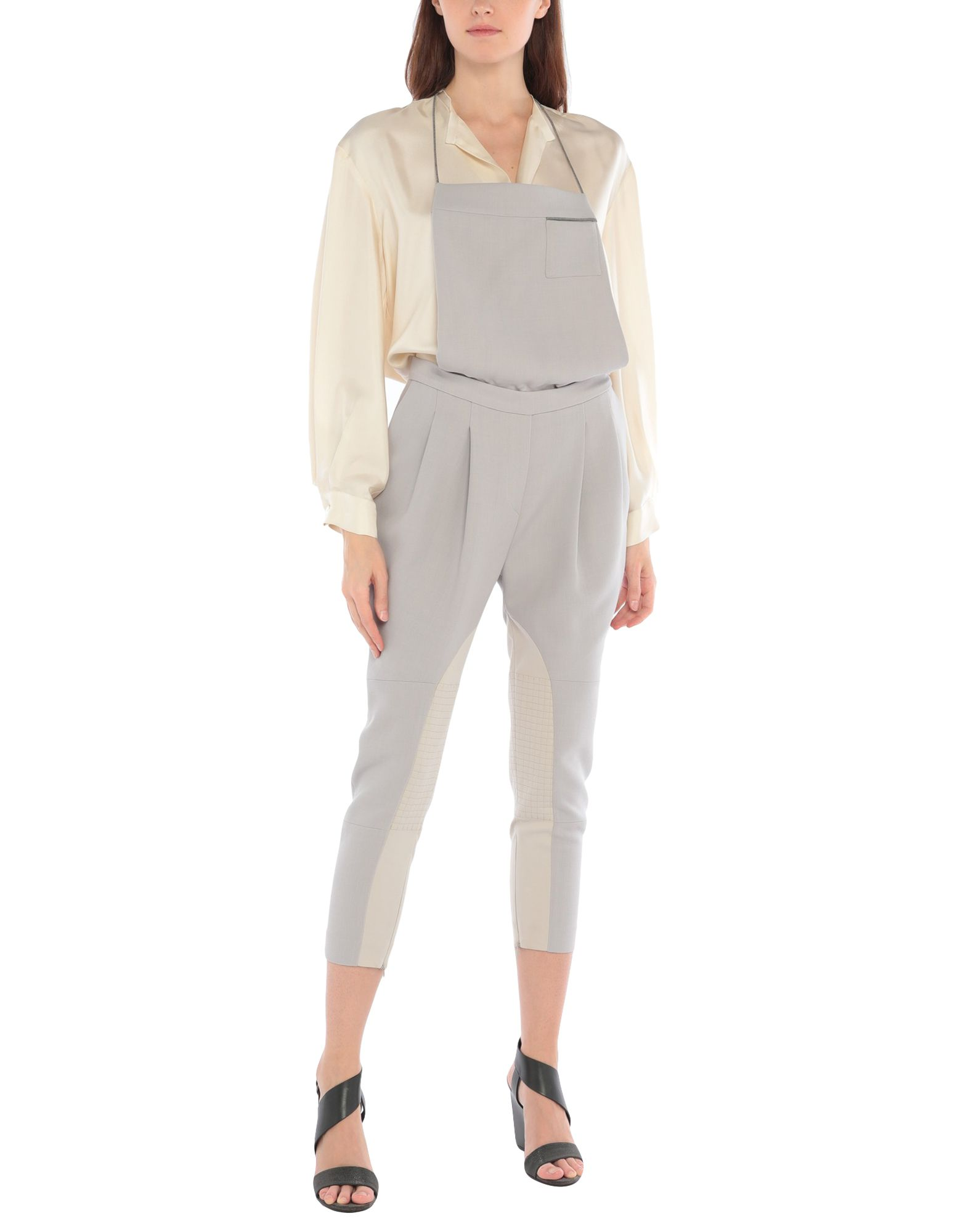 BRUNELLO CUCINELLI Overalls. overalls top, solid color, multipockets, metal applications, zip, zips at hem, high waisted, cool wool, sleeveless. 100% Virgin Wool