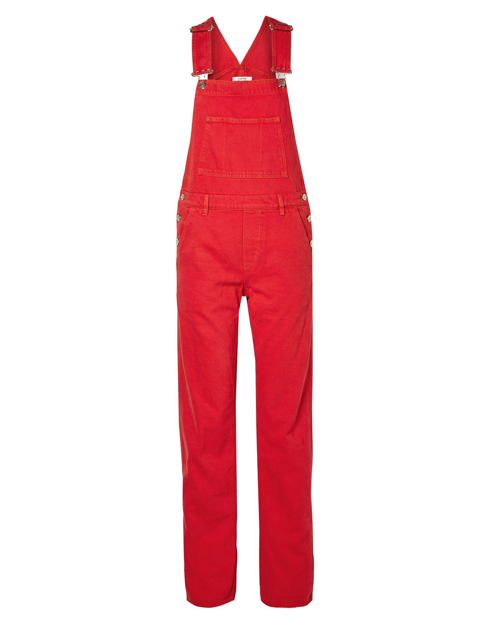 GANNI Overalls. denim, no appliqués, solid color, overalls top, sleeveless, multipockets, button closing, side closure. 100% Cotton
