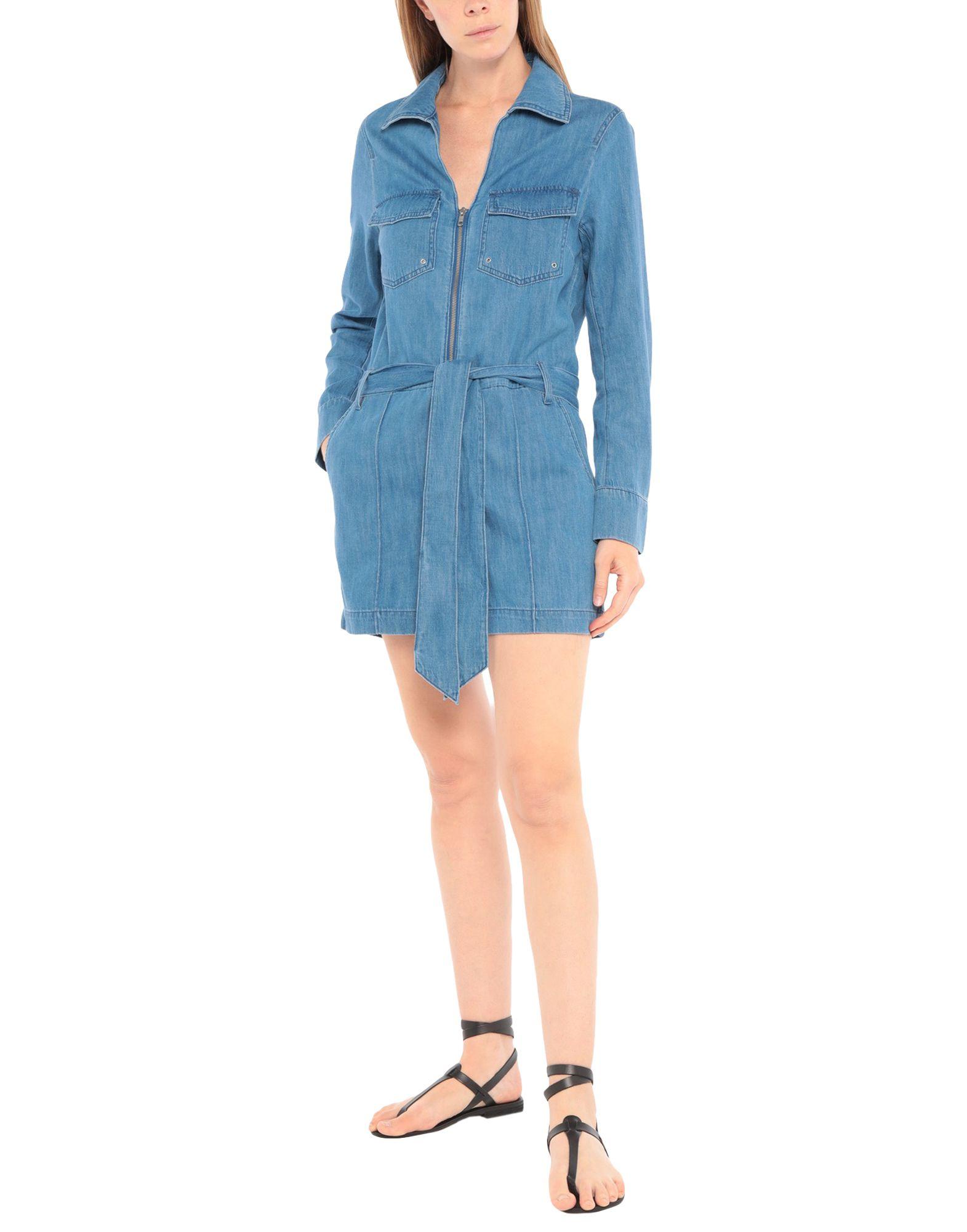 VERONICA BEARD Jumpsuits. denim, faded, belt, solid color, long sleeves, classic neckline, unlined, multipockets, zipper closure, front closure. 88% Cotton, 12% Linen