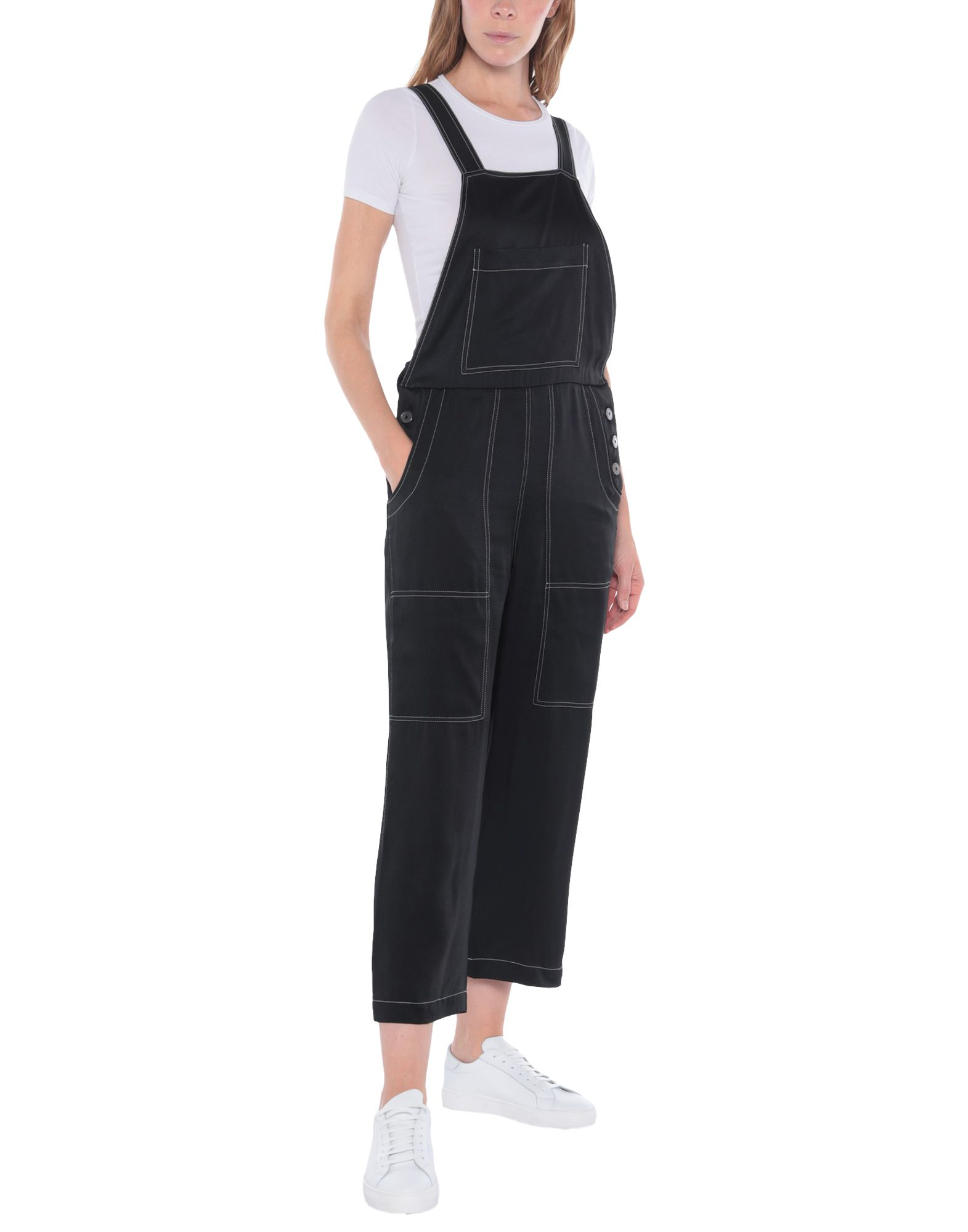 BRUNELLO CUCINELLI Overalls. satin, no appliqués, basic solid color, sleeveless, overalls top, multipockets, single chest pocket, button closing. 54% Viscose, 46% Acetate