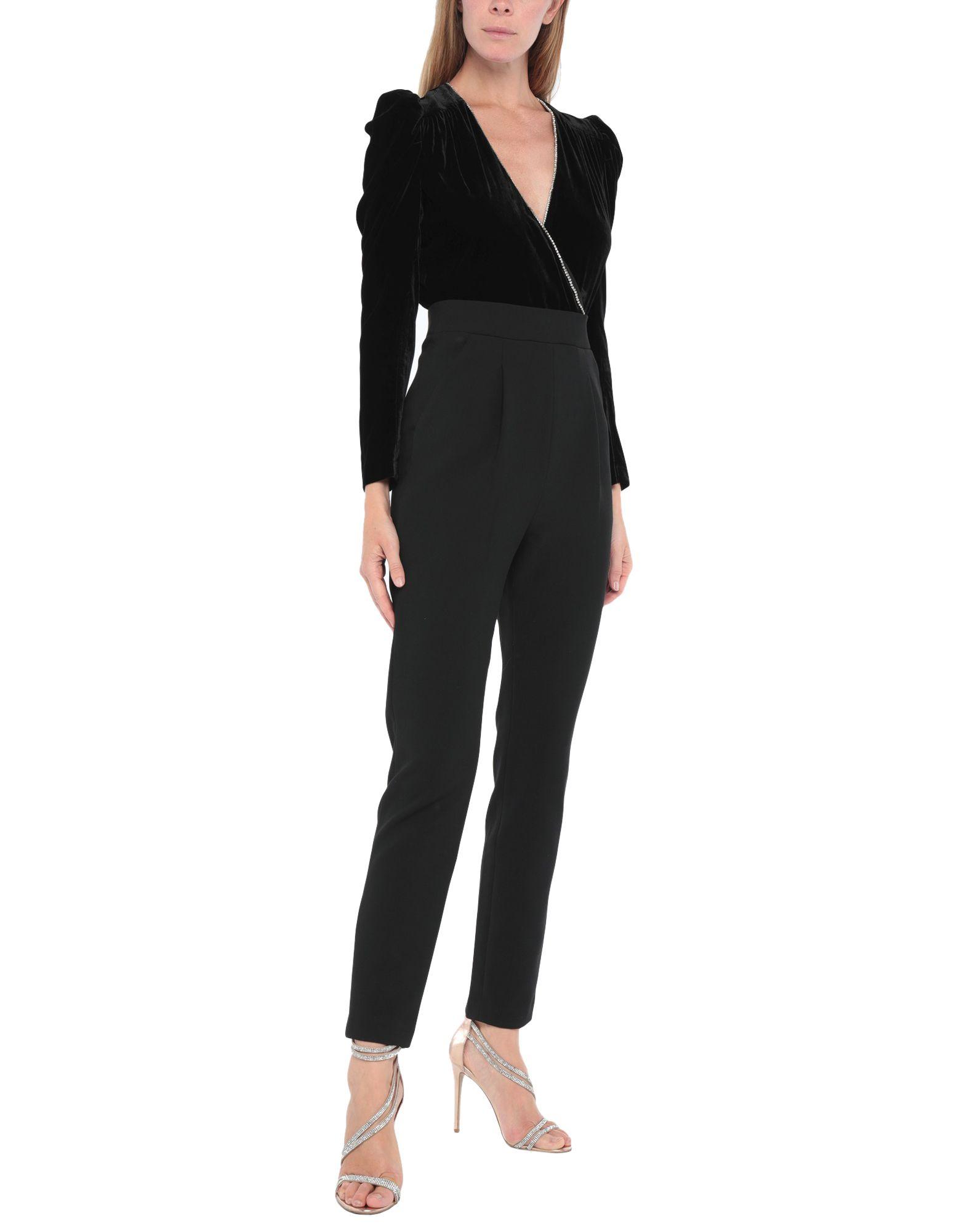 VERONICA BEARD Jumpsuits. velvet, plain weave, rhinestones, solid color, long sleeves, deep neckline, multipockets, rear closure, mid rise, zipper closure, stretch. 80% Rayon, 12% Silk, 8% Elastane, Viscose, Cotton