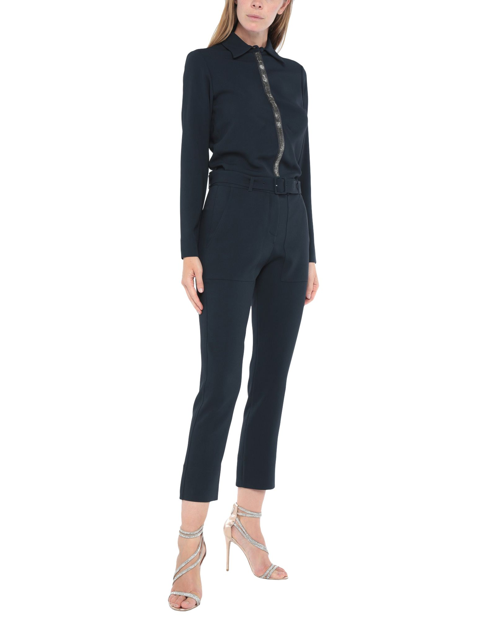 ELEVENTY Jumpsuits. contains non-textile parts of animal origin, crepe, belt, rhinestones, basic solid color, long sleeves, classic neckline, multipockets, front closure, snap buttons fastening, stretch. 51% Viscose, 46% Acetate, 3% Elastane, Polyester