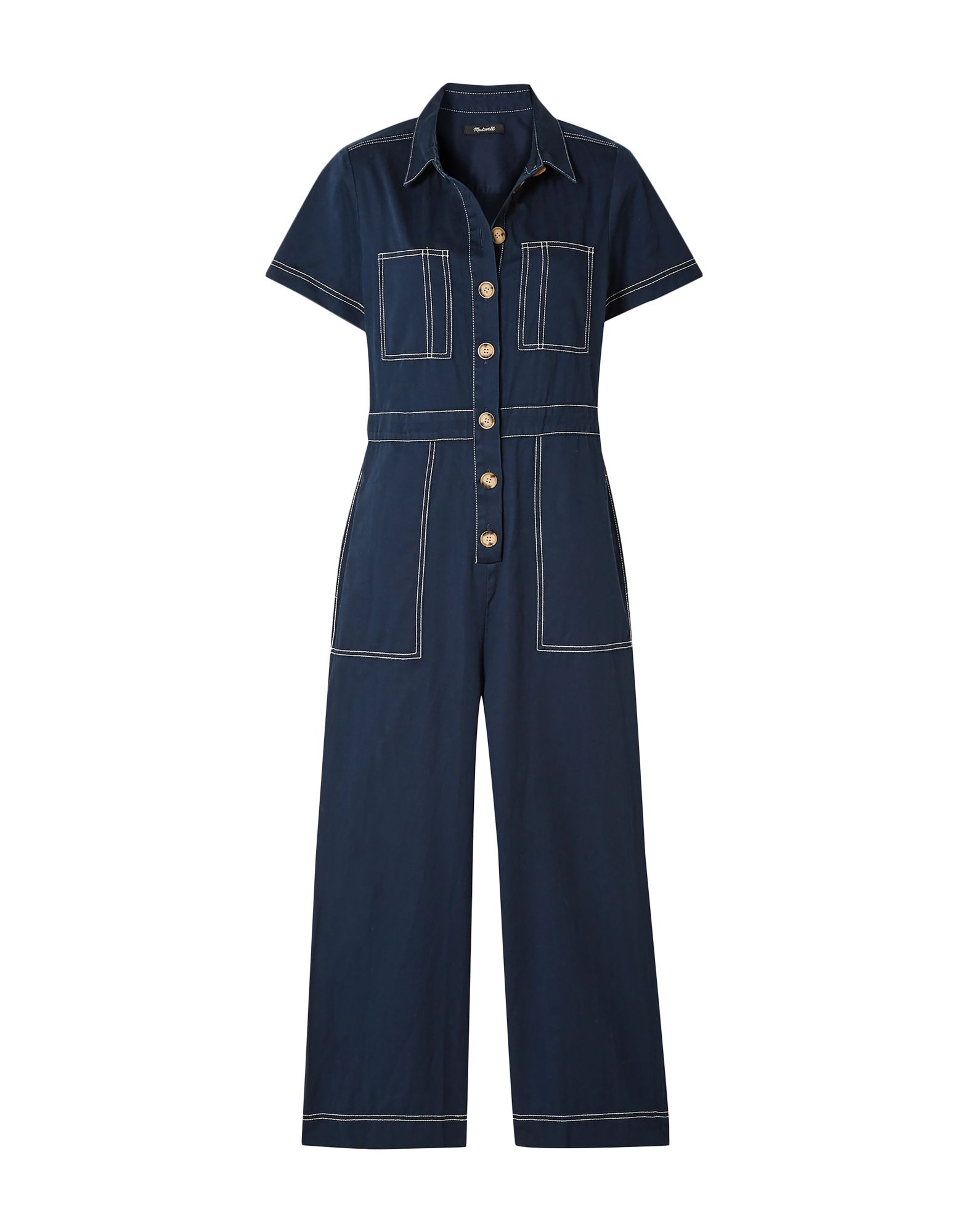 MADEWELL Jumpsuits. twill, stitching, basic solid color, short sleeves, classic neckline, multipockets, two breast pockets, button closing, front closure. 100% Cotton