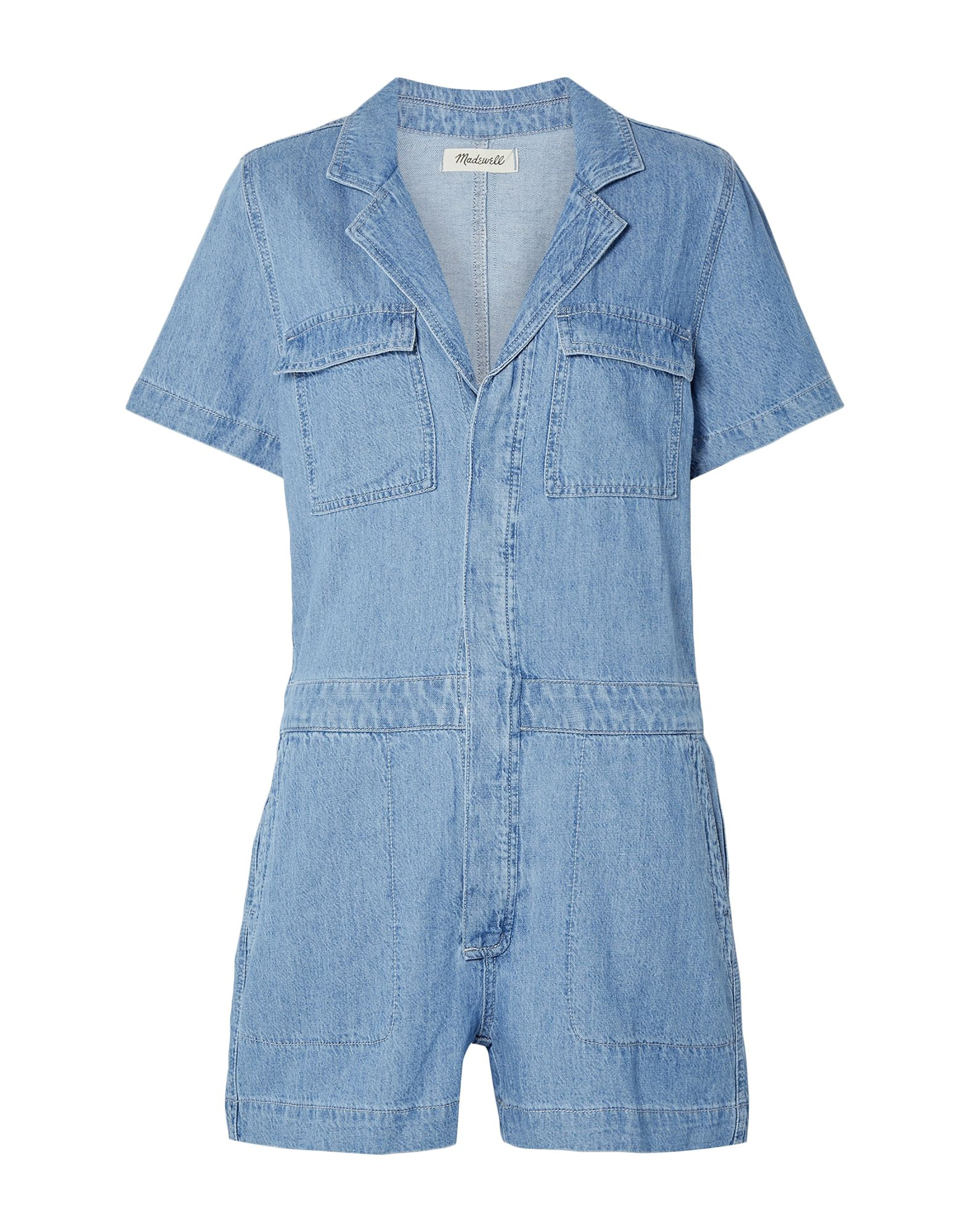 MADEWELL Jumpsuits. denim, no appliqués, solid color, short sleeves, lapel collar, unlined, multipockets, two breast pockets, button closing, front closure. 71% Cotton, 29% Linen