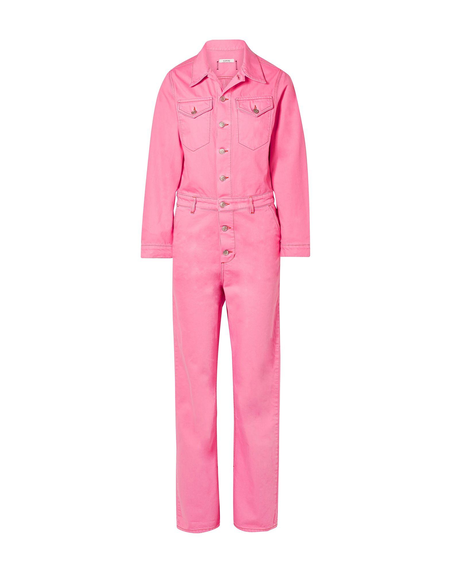 GANNI Jumpsuits. denim, no appliqués, basic solid color, long sleeves, classic neckline, multipockets, two breast pockets, button closing, front closure, mid rise, belt loops, side slit hemline. 100% Cotton