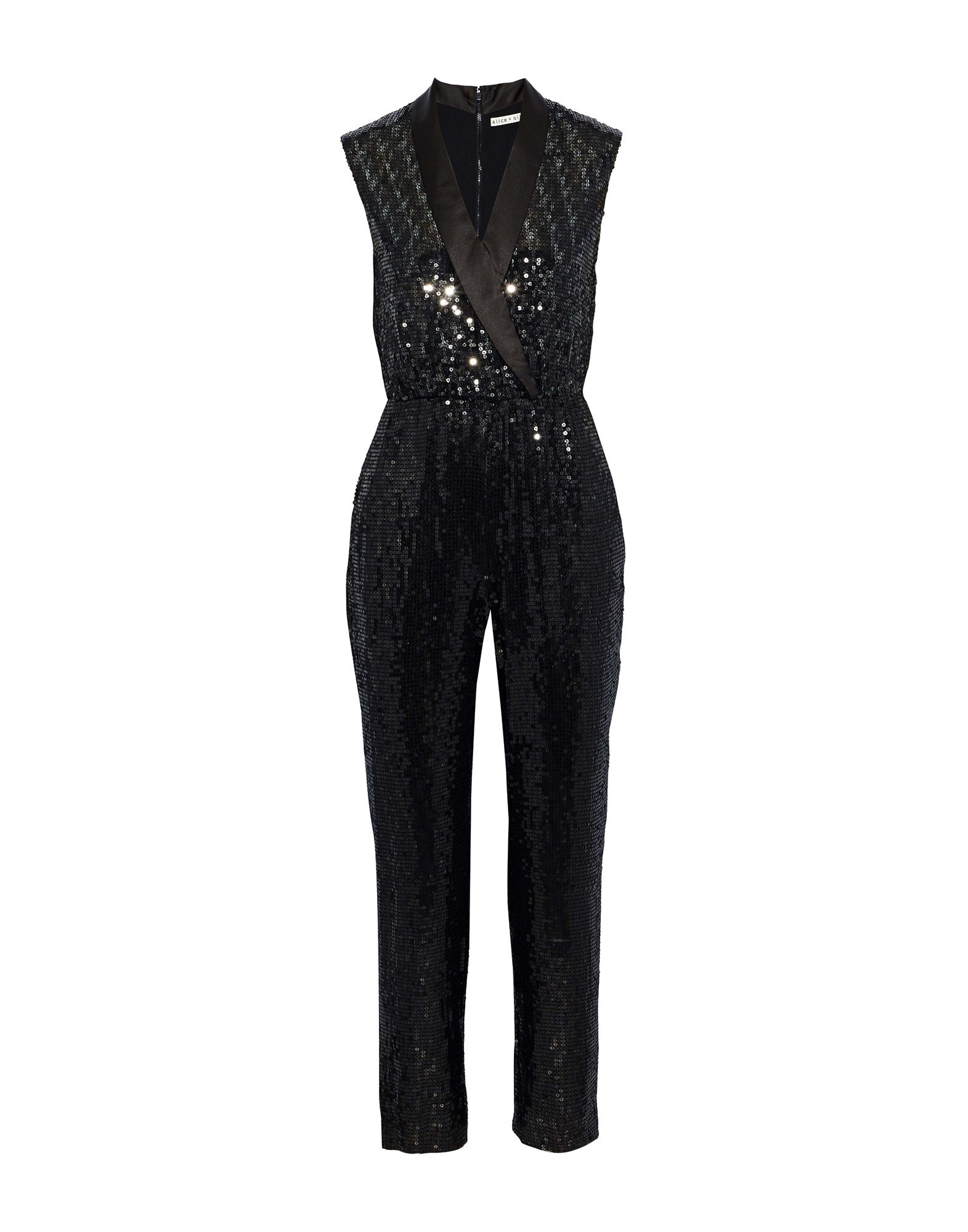 ALICE + OLIVIA Jumpsuits. satin, plain weave, sequins, basic solid color, sleeveless, lapel collar, fully lined, multipockets, zipper closure, rear closure, mid rise. 100% Viscose
