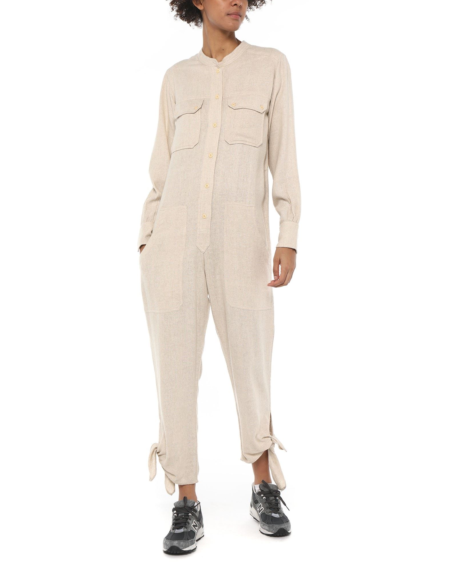 ISABEL MARANT Jumpsuits. flannel, no appliqués, solid color, long sleeves, mandarin collar, multipockets, button closing, front closure, mid rise, large sized. 100% Silk
