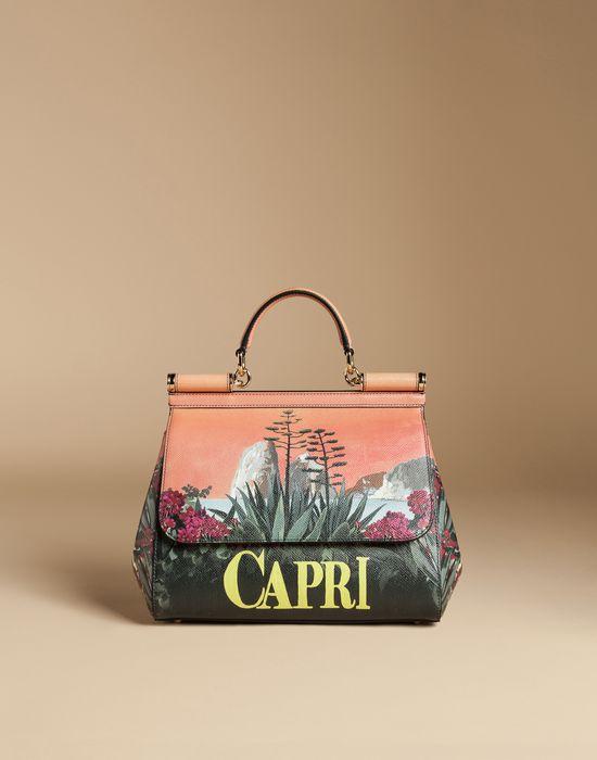MEDIUM SICILY BAG IN PRINTED DAUPHINE LEATHER - Medium leather bags - Dolce&Gabbana - Summer 2016