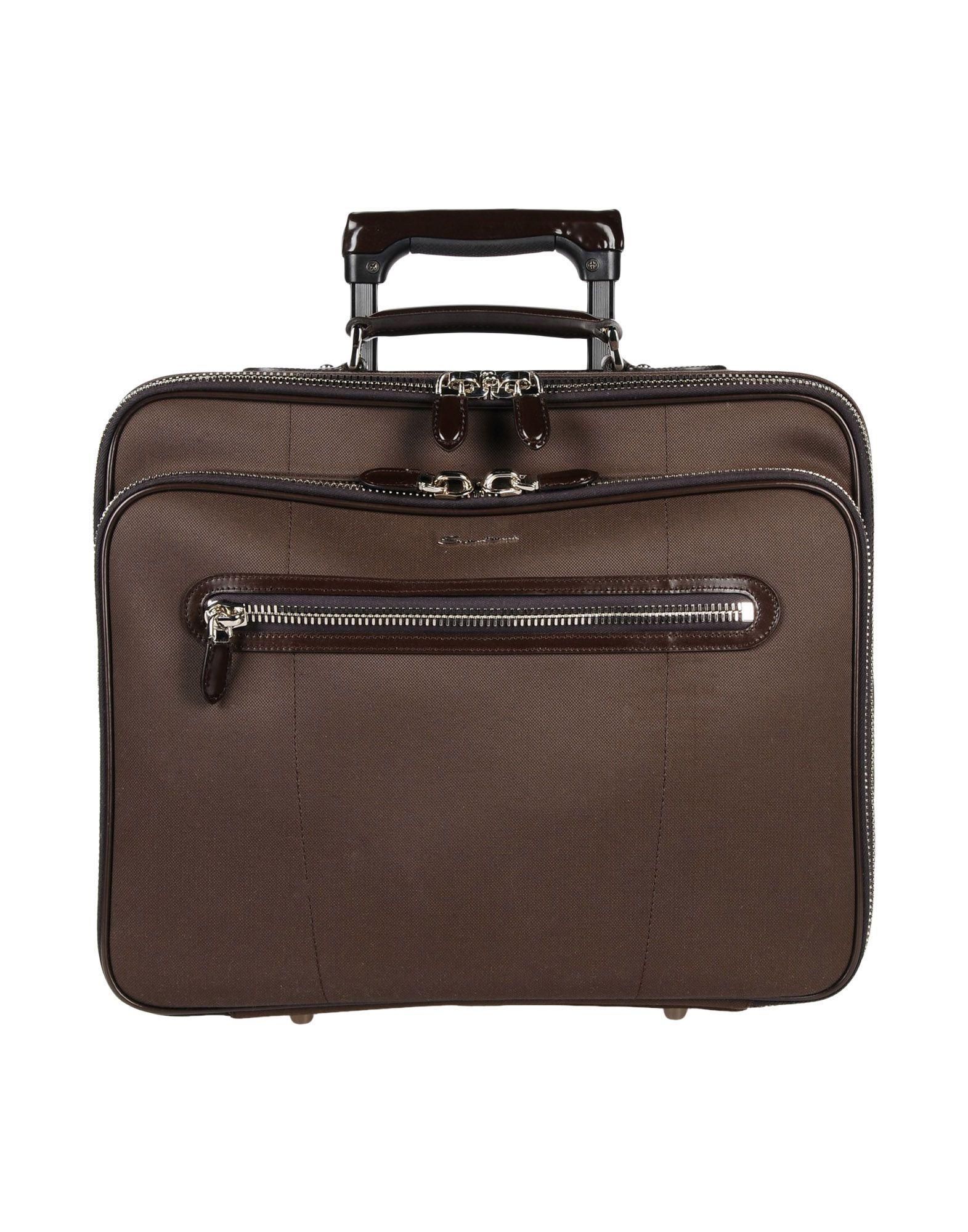 《期間限定セール中》SANTONI Unisex キャスター付きバッグ ダークブラウン 紡績繊維 / 革