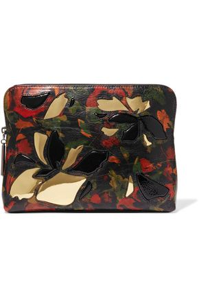 3.1 PHILLIP LIM 31 Minute PVC-trimmed printed textured-leather pouch