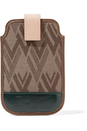 VALENTINO Leather-trimmed jacquard phone case