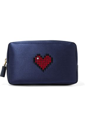 ANYA HINDMARCH Crystal-embellished satin cosmetic case