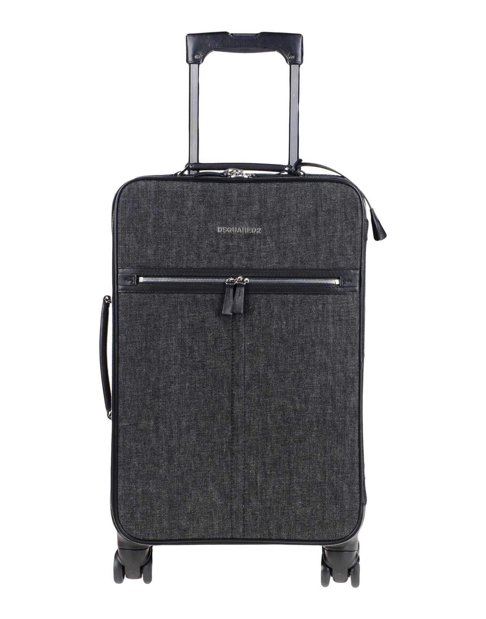 《期間限定セール中》DSQUARED2 メンズ キャスター付きバッグ ブラック 紡績繊維 / 革