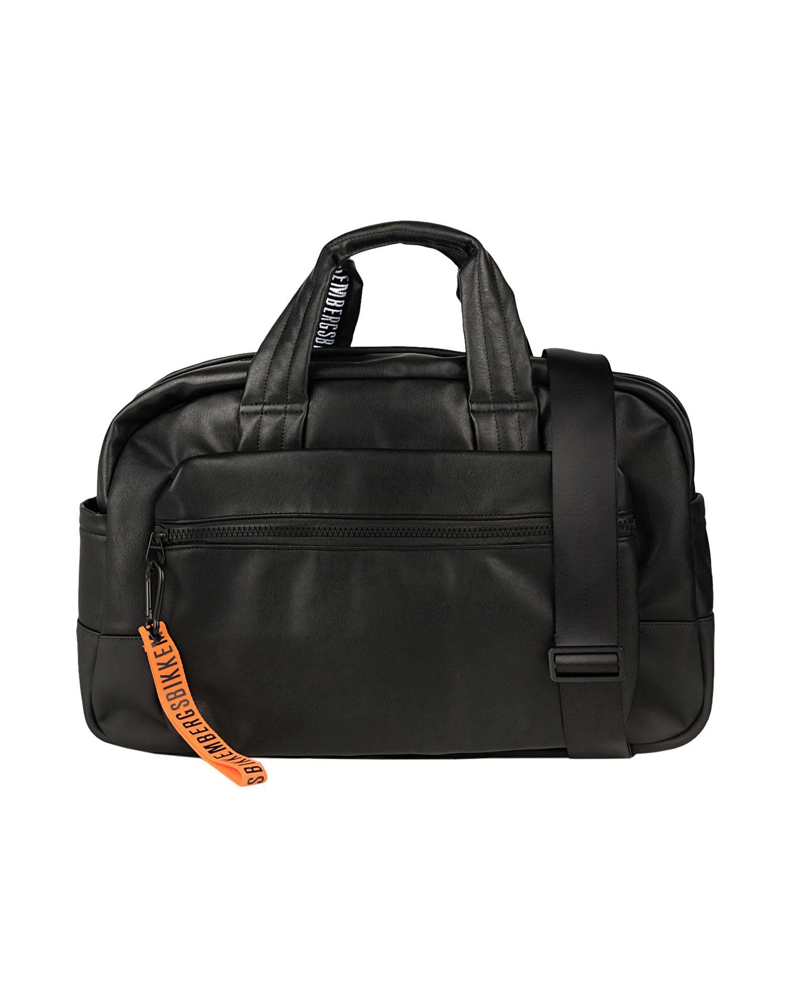 《送料無料》BIKKEMBERGS メンズ 旅行バッグ ブラック ポリウレタン 100%