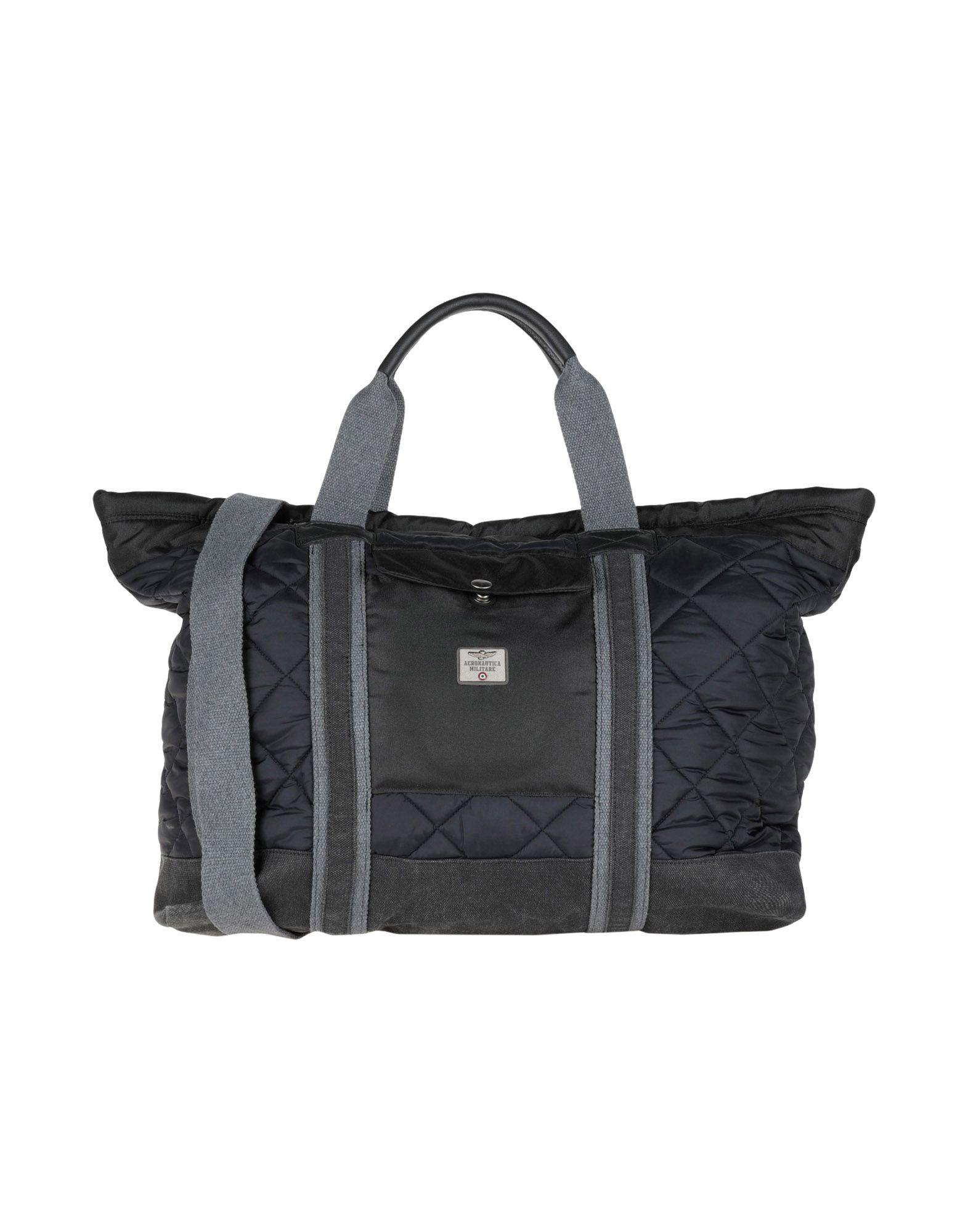 《送料無料》AERONAUTICA MILITARE メンズ 旅行バッグ ブラック 紡績繊維