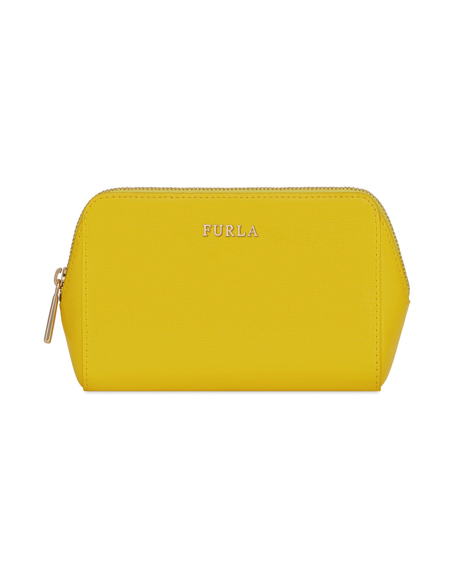 FURLA Beauty cases. printed leather, logo, basic solid color, fully lined, zip, internal pocket, contains non-textile parts of animal origin. 100% Soft Leather