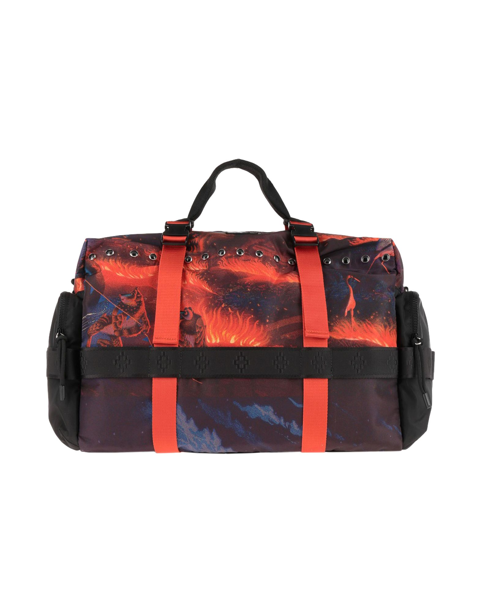MARCELO BURLON Travel duffel bags. techno fabric, metal applications, logo, multicolor pattern, double handle, fully lined, zipper closure, removable shoulder strap, internal zip pocket, external pockets. 100% Polyester, Metal