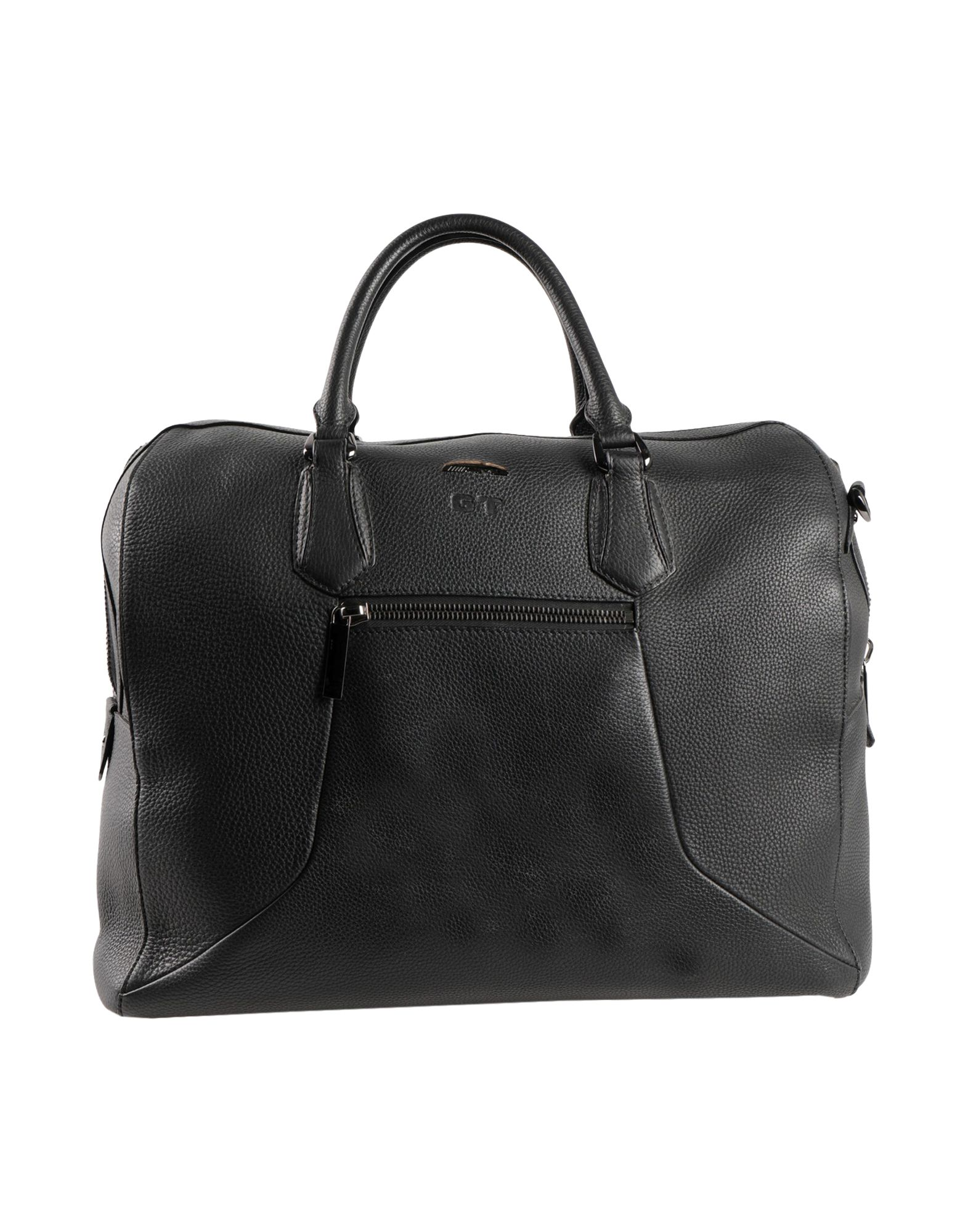 SANTONI Travel duffel bags. leather, textured leather, logo, solid color, double handle, removable shoulder strap, internal pockets, fully lined, zipper closure, external pockets, bottom with studs, contains non-textile parts of animal origin. Soft Leather