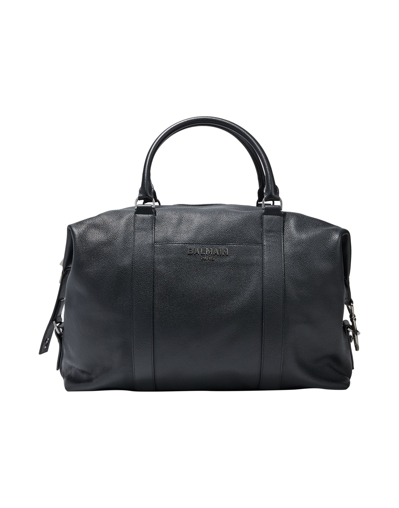BALMAIN Travel duffel bags. solid color, logo, zipper closure, external pockets, fully lined, double handle, internal zip pocket, contains non-textile parts of animal origin. Calfskin
