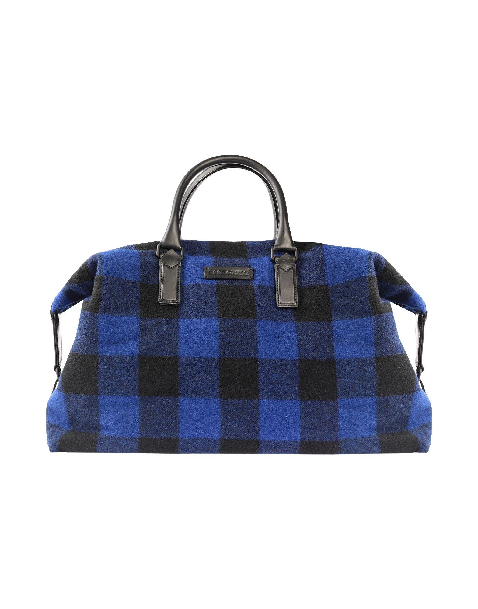 《セール開催中》DSQUARED2 メンズ 旅行バッグ ブライトブルー ウール / 革