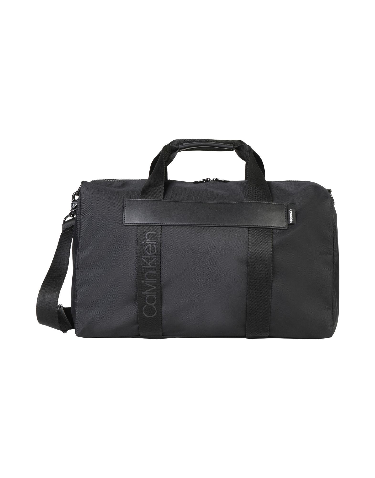 《セール開催中》CALVIN KLEIN メンズ 旅行バッグ ブラック リサイクルポリエステル 90% / ポリウレタン 10% NASTRO LOGO WEEKENDER