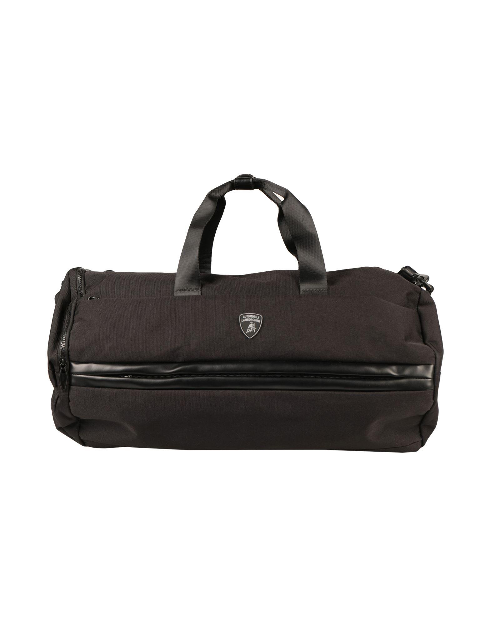 《セール開催中》AUTOMOBILI LAMBORGHINI メンズ 旅行バッグ ブラック ポリエステル 90% / ポリウレタン 10%