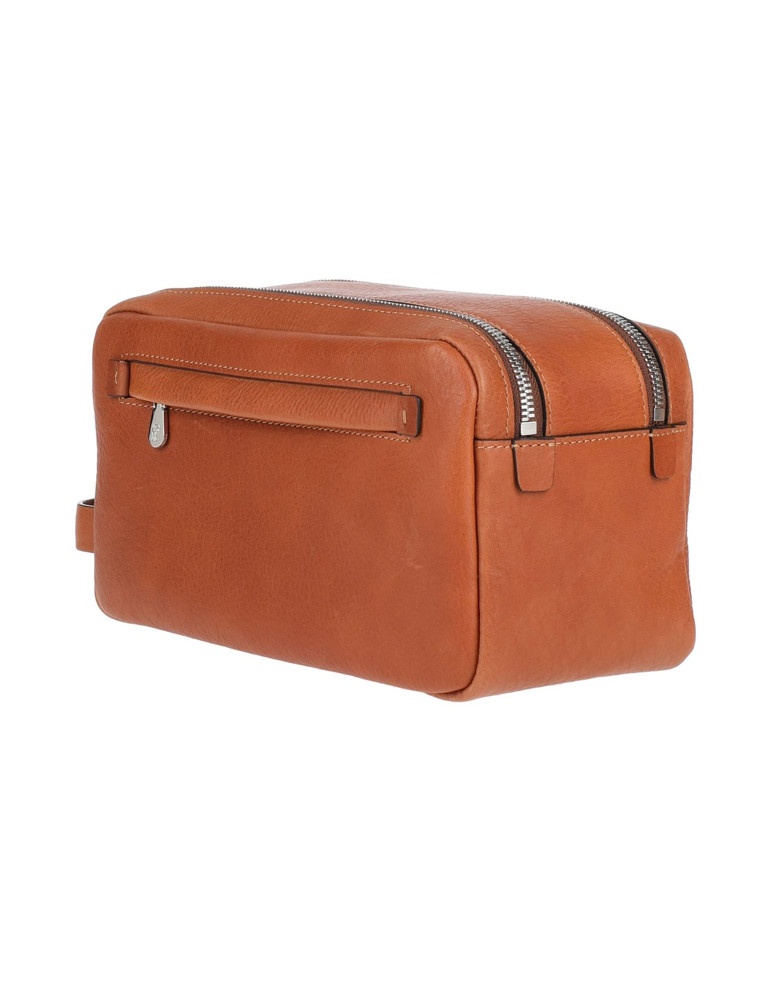 BRUNELLO CUCINELLI Beauty cases. logo, solid color, bag handle, fully lined, zipper closure, fully lined, contains non-textile parts of animal origin. Soft Leather