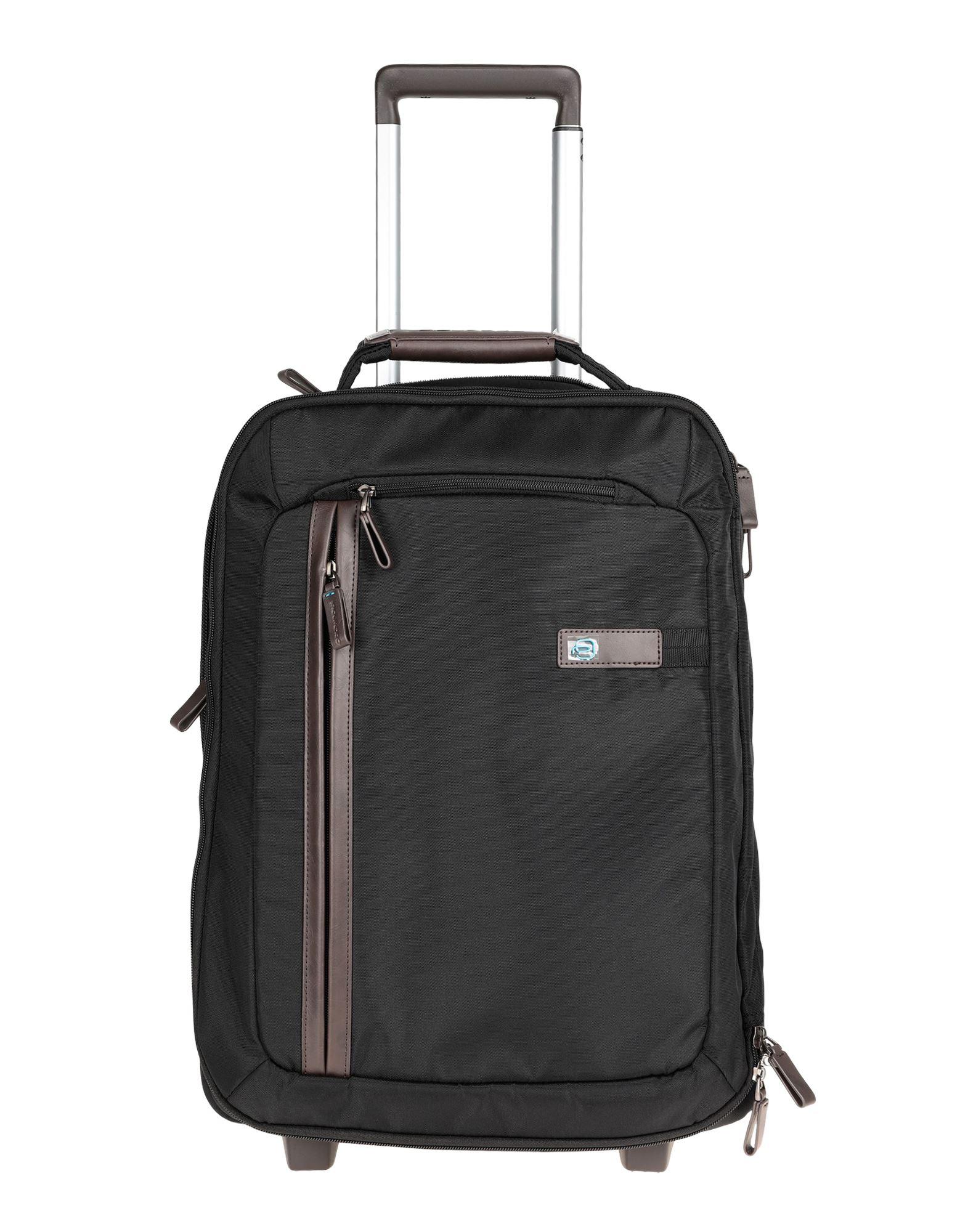 《セール開催中》PIQUADRO Unisex キャスター付きバッグ ブラック 紡績繊維 / 革