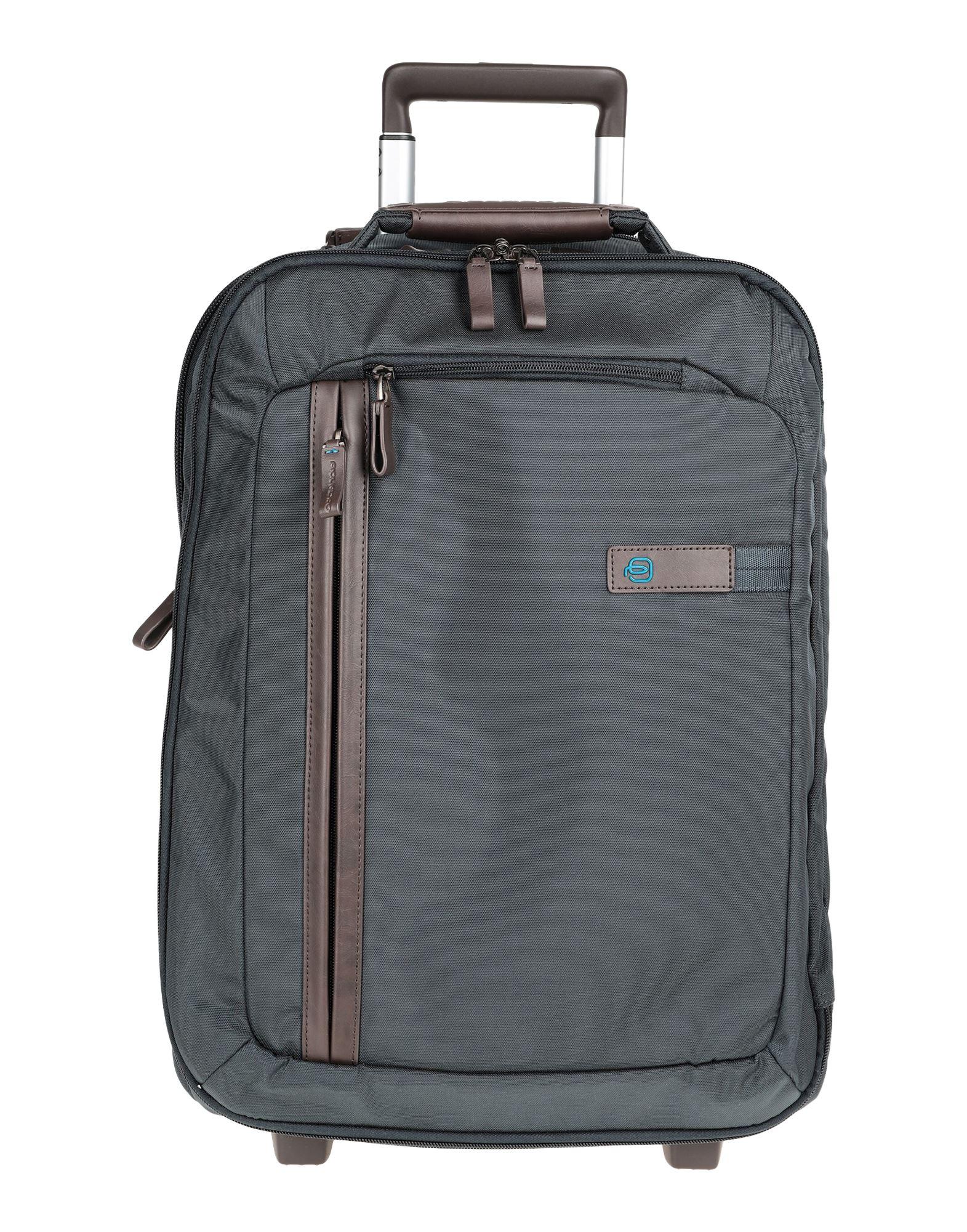 《セール開催中》PIQUADRO Unisex キャスター付きバッグ ブルーグレー 紡績繊維 / 革
