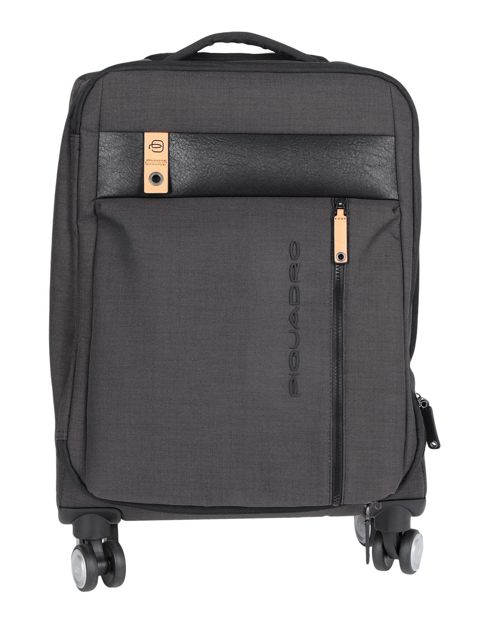 《セール開催中》PIQUADRO Unisex キャスター付きバッグ スチールグレー ポリエステル / 牛革 / 金属