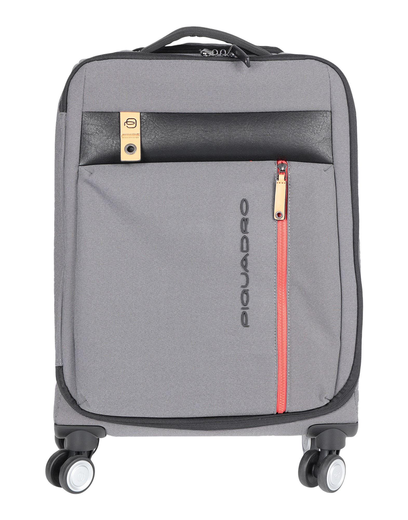 《セール開催中》PIQUADRO Unisex キャスター付きバッグ グレー ポリエステル / 牛革 / 金属